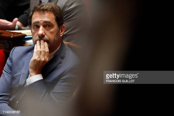 French Interior Minister Christophe Castaner attends a session of questions to the Government at the French National Assembly in Paris on April 30...