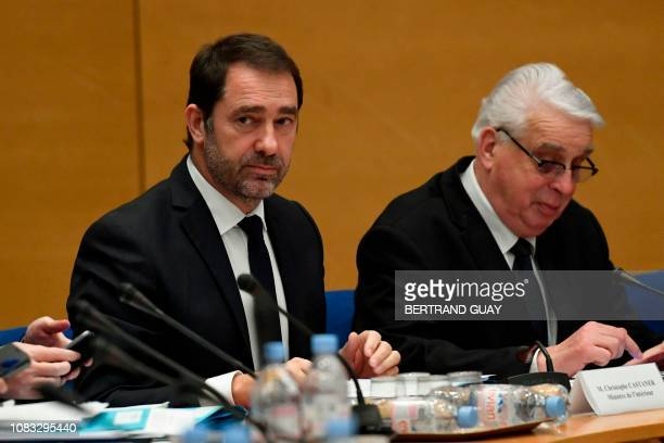 French Interior Minister Christophe Castaner flanked by Commission rapporteur JeanPierre Sueur appears before the Senate Law Commission in Paris on...