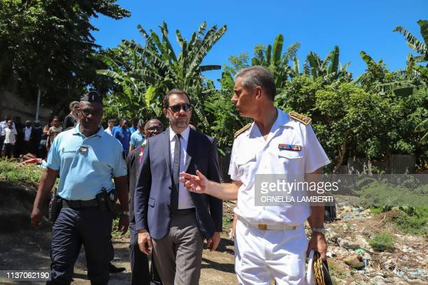 French Interior Minister Christophe Castaner flanked by Prefect of Mayotte Dominique Sorain visits La Vigie district a shantytown in PetiteTerre at...