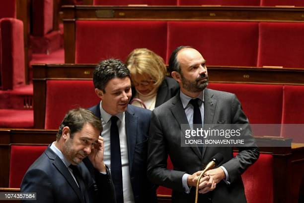French Interior Minister Christophe Castaner French Government's spokesperson Benjamin Griveaux and French Prime Minister Edouard Philippe attend a...