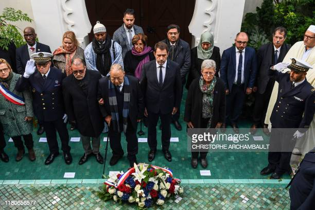 French Interior Minister Christophe Castaner , French Junior Defence Minister Genevieve Darrieussecq and the President of the French Council of the...