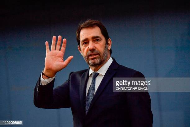 French Interior Minister Christophe Castaner gestures as he accompanies French President visiting the village of SainteCroixduVerdon southeastern...
