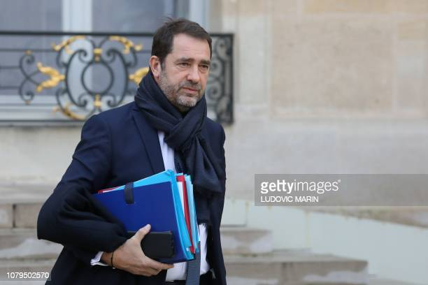 French Interior Minister Christophe Castaner leaves after the weekly cabinet meeting at the Elysee palace in Paris on January 9 2019