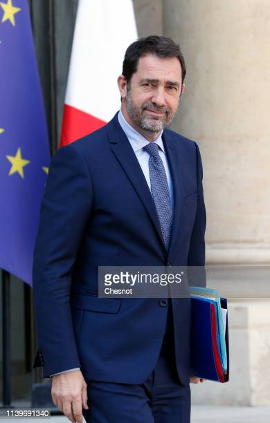 French Interior minister Christophe Castaner leaves the Elysee Presidential Palace following the weekly cabinet meeting on April 01 2019 in Paris...