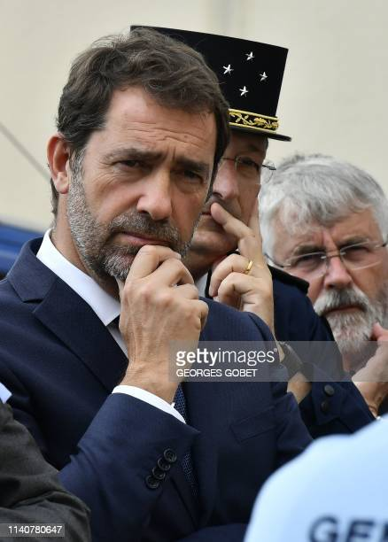 French Interior Minister Christophe Castaner listens explanations as he visits a gendarmerie station in TerresdeHauteCharente near Angouleme western...