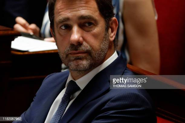 French Interior Minister Christophe Castaner looks on during a session of questions to the government at the National Assembly in Paris on June 26...