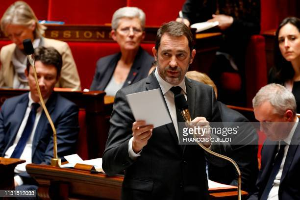 French Interior Minister Christophe Castaner speaks during a session of questions to the government at the National Assembly in Paris on March 19 2019
