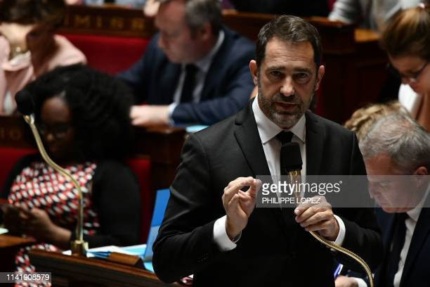 French Interior Minister Christophe Castaner speaks during a session of questions to the government at the National Assembly in Paris on May 7 2019