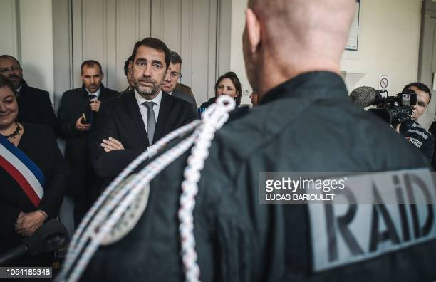 French Interior Minister Christophe Castaner visits the headquarters of French Research Assistance Intervention Deterrence Police Unit in Bievres...