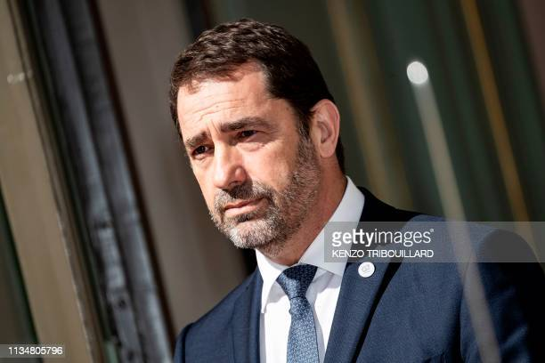 French Interior Minister Christophe Castaner waits before a meeting at the Ministry of Interior Place Beauvau in Paris on April 4 2019 ahead of the...