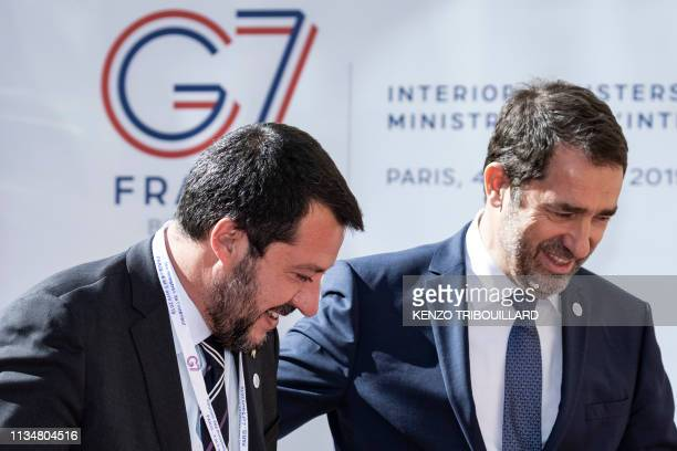 French Interior Minister Christophe Castaner welcomes his Italian counterpart Matteo Salvini upon his arrival at the French Interior ministry on...
