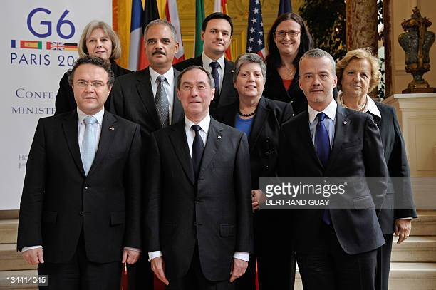 French Interior Minister Claude Gueant poses with his European counterparts prior to a meeting on December 1 2011 in Paris Interior ministers from...
