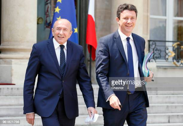 French Interior Minister Gerard Collomb and French Government's Spokesperson Benjamin Griveaux leave the Elysee Presidential Palace after a weekly...
