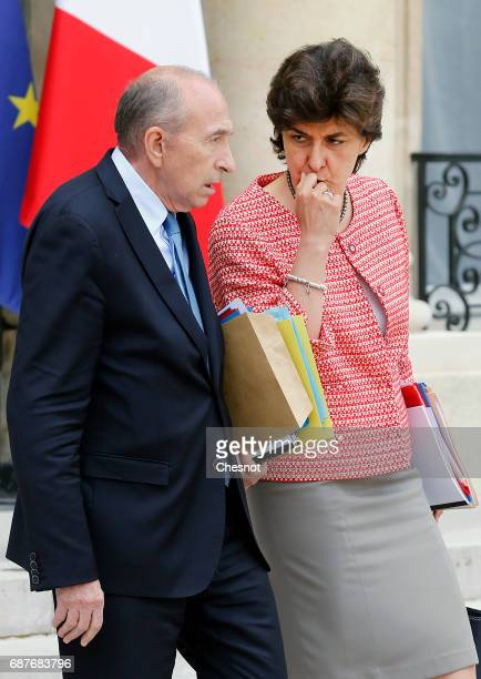 French Interior minister Gerard Collomb and French Minister of Armed Forces Sylvie Goulard leave the Elysee Presidential Palace after a weekly...