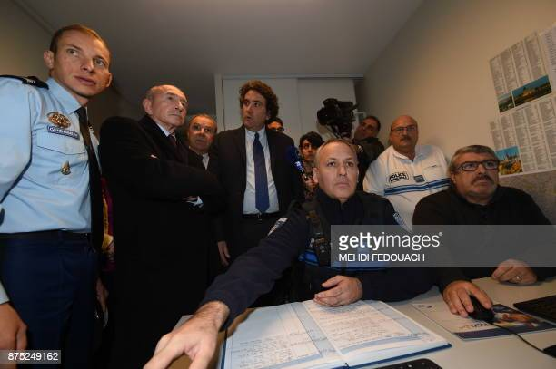 French Interior Minister Gerard Collomb and Libourne Mayor Philippe Buisson visit the video surveillance post of the gendarmerie of Libourne on...