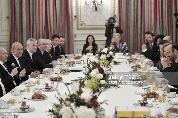 French Interior Minister Gerard Collomb French Foreign Affairs Minister JeanYves Le Drian French Economy Minister Bruno Le Maire and French Prime...