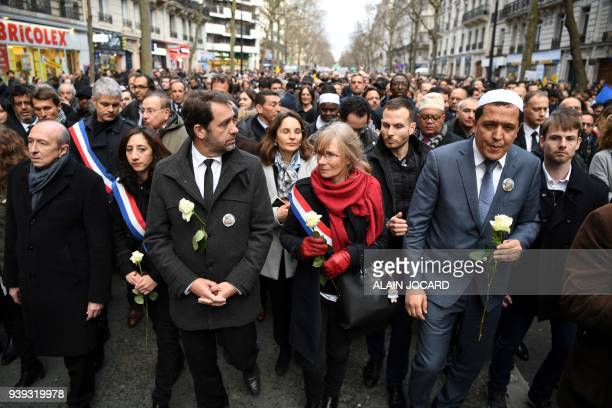 French Interior Minister Gerard Collomb French Junior Minister for the Relations with Parliament Christophe Castaner Imam of Drancy Hassen Chalghoumi...