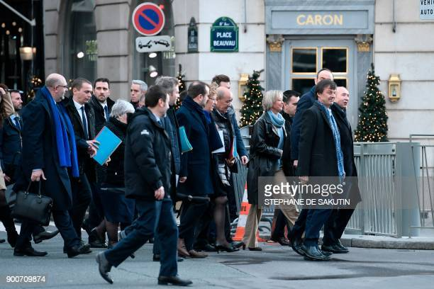 French Interior Minister Gerard Collomb French Minister for the Ecological and Inclusive Transition Nicolas Hulot and members of the French...