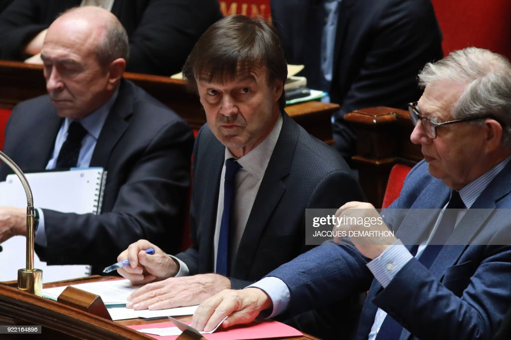 French Interior Minister Gerard Collomb, French Minister for the Ecological and Inclusive Transition Nicolas Hulot and French Minister for the Territorial Cohesion Jacques Mezard attend a session o...
