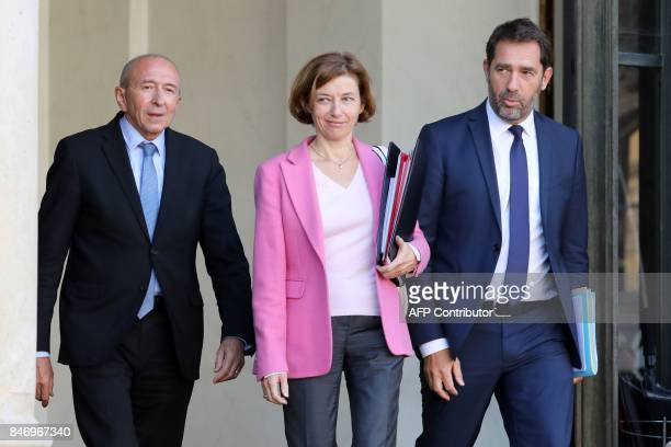 French Interior Minister Gerard Collomb Junior Minister for the Relations with Parliament and Government Spokesperson Christophe Castaner and Defence...