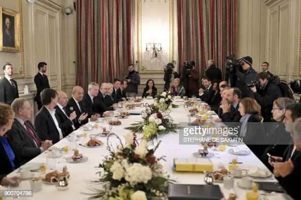French Interior Minister Gerard Collomb speaks as French Foreign Affairs Minister JeanYves Le Drian French Economy Minister Bruno Le Maire French...