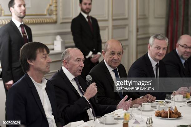 French Interior Minister Gerard Collomb speaks as French Minister for the Ecological and Inclusive Transition Nicolas Hulot French Foreign Affairs...