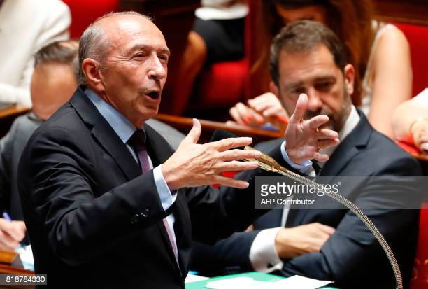 French Interior Minister Gerard Collomb speaks during a session of questions to the government at the French National Assembly in Paris on July 19...