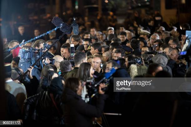 French Interior Minister Gerard Collomb takes part in the gathering organized by the Representative Council of France's Jewish Associations outside...