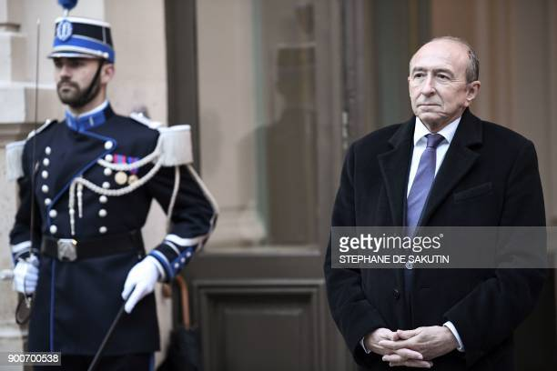 French Interior Minister Gerard Collomb waits for the arrival of ministers to attend a government's New Year breakfast meeting at the Interior...