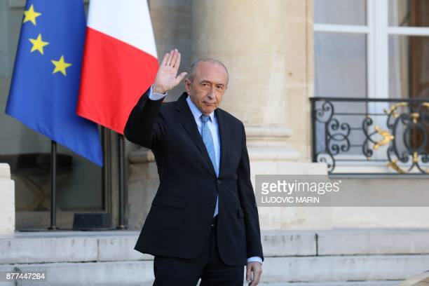 French Interior Minister Gerard Collomb waves as he leaves the Elysee presidential palace after the weekly cabinet meeting on November 22 2017 in...