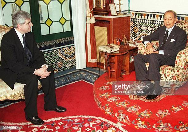 French Interior Minister JeanPierre Chevènement is received by King Hassan II of Morocco at Rabat Royal Palace 05 March The French minister is on a...