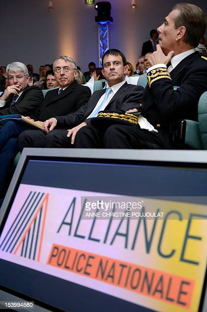 French Interior Minister Manuel Valls beside Police Prefect of the BouchesduRhône attends the national congress of police union Alliance on October...