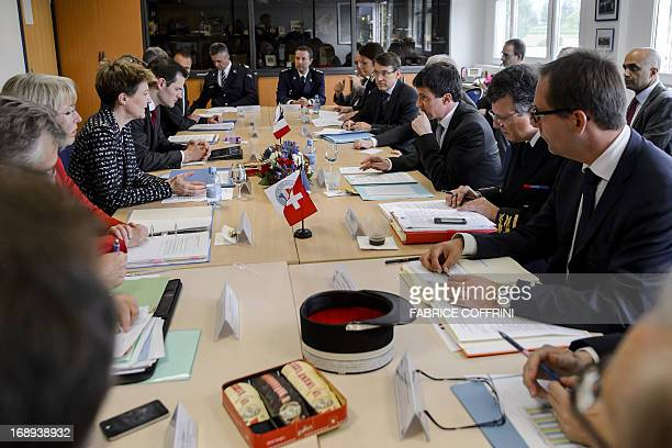 French Interior Minister Manuel Valls faces Swiss Justice Minister Simonetta Sommaruga during his visit to the SwissFrench Police and Border...
