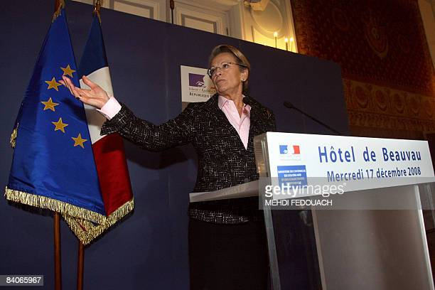 French Interior Minister Michele AlliotMarie gives a press conference after a meeting on December 17 2008 in Paris with top police and intelligence...
