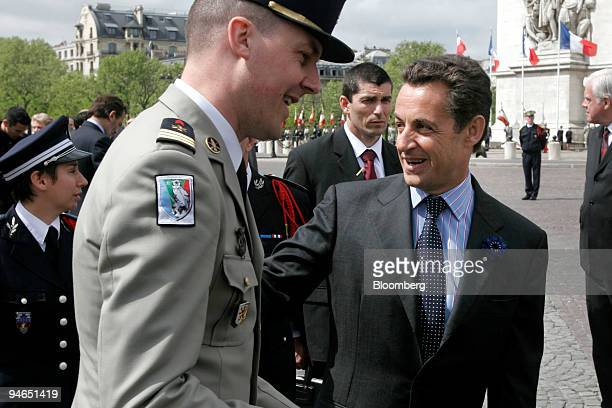 French Interior Minister Nicolas Sarkozy attends a ceremony marking the end of the World War II at the Arc de Triomphe in Paris, France, Monday, May...