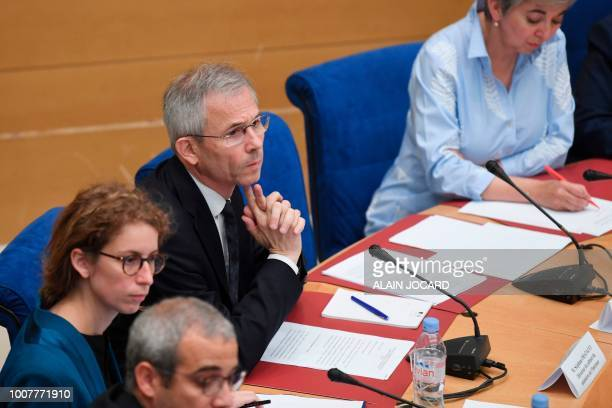 French Interior minister's director of cabinet Stephane Fratacci appears before the Senate Law Commission in Paris on July 30 2018 in the case of...