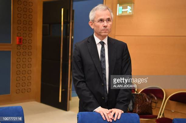 French Interior minister's director of cabinet Stephane Fratacci arrives to appear before the Senate Law Commission in Paris on July 30 2018 in the...