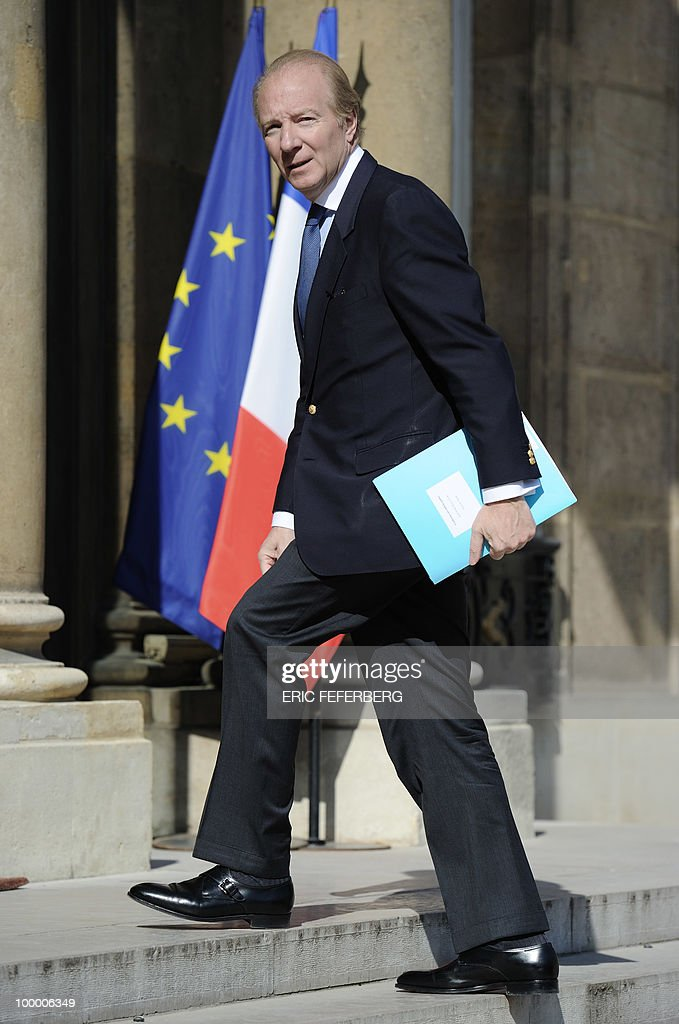 French Interior, Overseas Departments and Territorial Administration minister Brice Hortefeux arrives at the Elysee Palace on May 20, 2010 in Paris to attend a second meeting on public deficit with French President Nicolas Sarkozy. France reopened its 2010 budget to add in the 111 billion euros it has promised to contribute to Europe's new 750-billion-euro emergency stability fund, Finance Minister Christine Lagarde said yesterday.