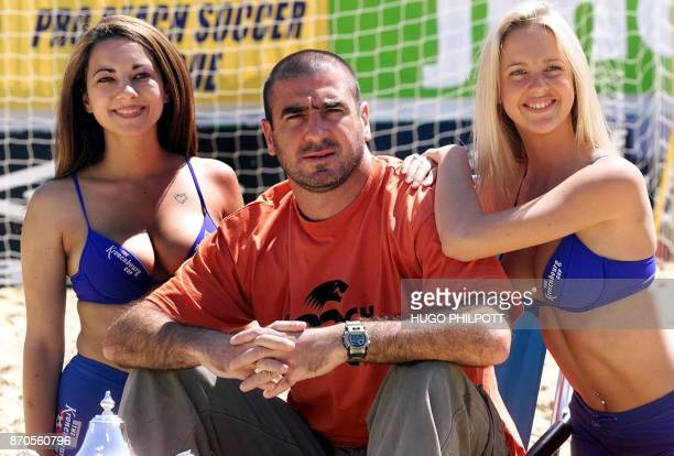 French international Eric Cantona kicks off the British leg of the Kronenburg beach football cup in Hyde park in Central London 22 June 2001 The...