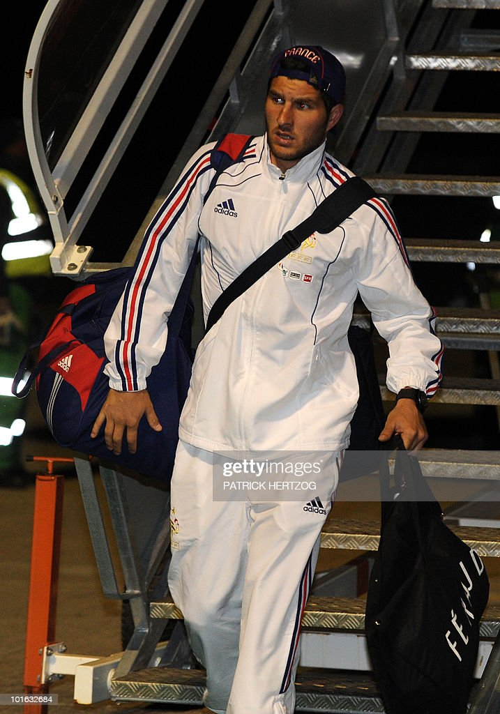 French international football forward Pierre-Andre Gignac arrives with team mates at George Airport on June 5, 2010. The FIFA 2010 World Cup begins on June 11, 2010.