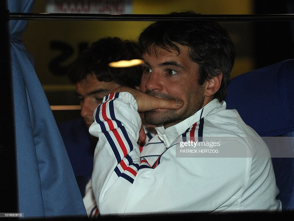 French international football midfielder Jeremy Toulalan looks out of the team bus window upon the arrival of the French team at George Airport on June 5, 2010. The FIFA 2010 World Cup begins on June 11, 2010.