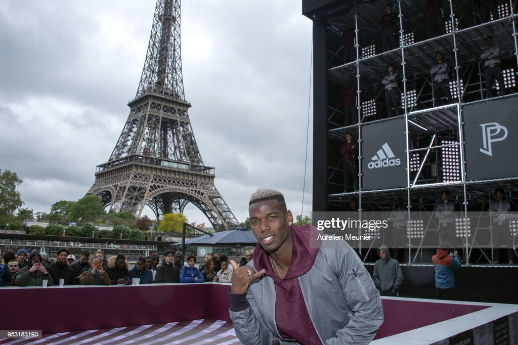 French International football player Paul Pogba attends the launch of the Adidas Football X Paul Pogba Capsule Collection in front of the Eiffel Tower at Port Debilly on April 30, 2018 in Paris, France.