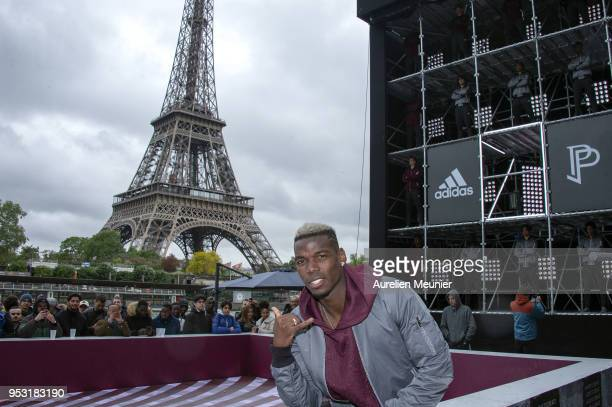 French International football player Paul Pogba attends the launch of the Adidas Football X Paul Pogba Capsule Collection in front of the Eiffel...