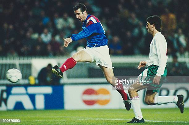 French international footballer Eric Cantona during the France v Bulgaria FIFA World Cup Qualifying Match Parc des Princes Paris France 17th November...
