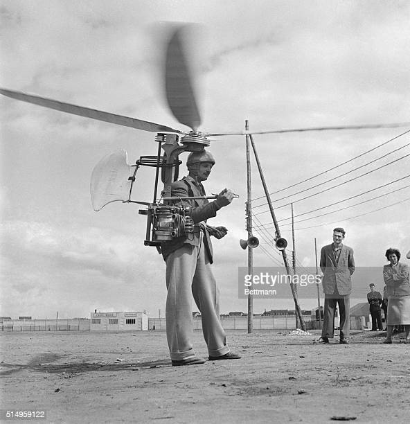 French inventor George Sablier demonstrates his one man helicopter at the International Meeting of Individual Helicopters in St. Etienne. Propelled...
