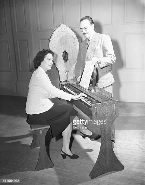 """French Inventor Introduces New Musical Instrument. Boston, Mass.: An innovation in musical instruments, the """"Ondes Martenot"""" is introduced here by..."""