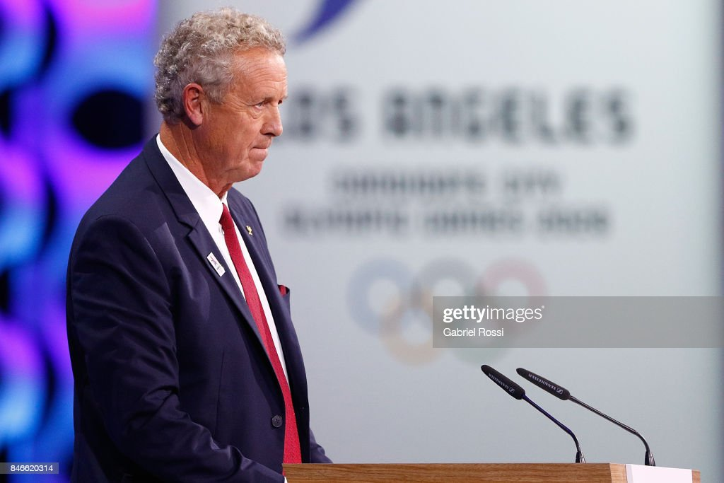 French IOC Member Guy Drut speaks during the 131th IOC Session - 2024 & 2028 Olympics Hosts Announcement at Lima Convention Centre on September 13, 2017 in Lima, Peru.