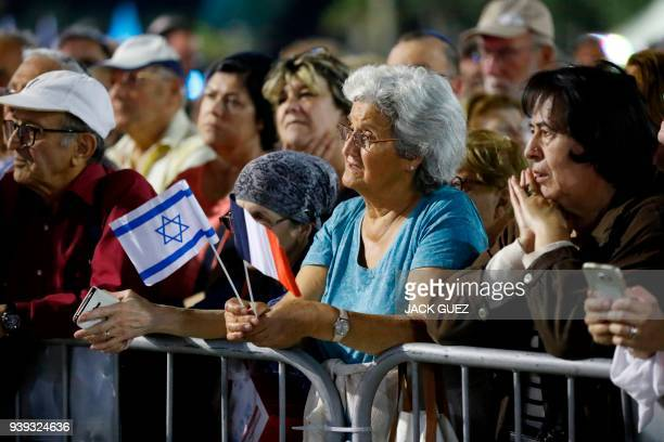 French Israelis attend a gathering in the city of Netanya on March 28 in memory of Mireille Knoll an 85yearold Jewish woman murdered in her home in...