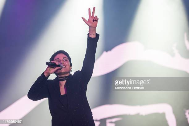 French italian singer Giordana Angi performs live on stage in Milan with his Casa Tour Milan October 6th 2019
