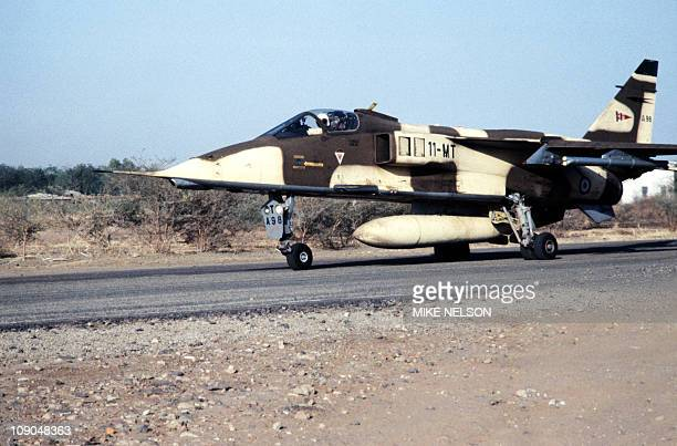 A French Jaguar military plane takes off at N'Djamena airport as French army reinforces the Chad military operation to fight Lybiansupplied rebels on...